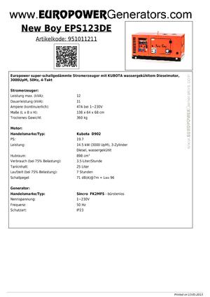 Stromerzeuger 3000 Diesel Europower New Boy EPS123DE (S)