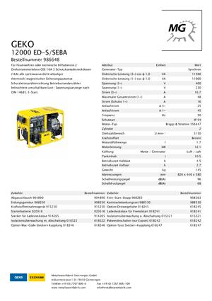 Stromerzeuger 3000 Benzin Geko ® 12000 ED-S/SEBA