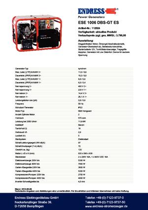 Stromerzeuger 3000 Benzin Endress ESE 1006 DBS-GT ES