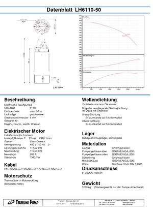 Tauchkörperpumpen-Schmutzwasser Tsurumi-Pumpen LH6110-50